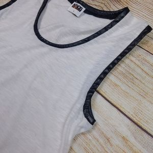 Kings of Cole White Sleeveless Leather Trim Top
